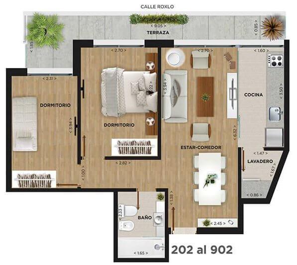 Domini Roxlo plano 2 dormitorios