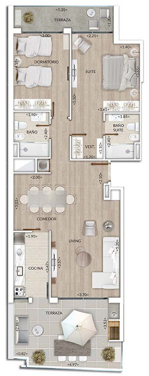 Plano Air Tower 2 DORMITORIOS PENTHOUSE 1001