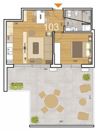 Plano Initium 1 dormitorio con patio 103