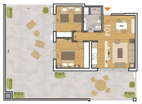 Plano Initium 2 dormitorios 104