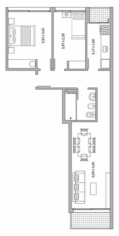 Quadra Centrum - Plano de 2 dormitorios Unidad 104