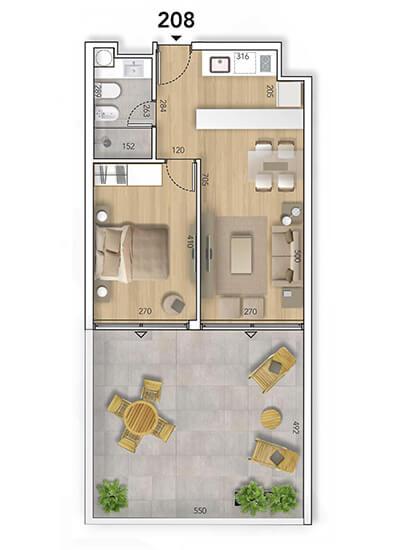 Lyra Plano 1 Dormitorio con patio 208