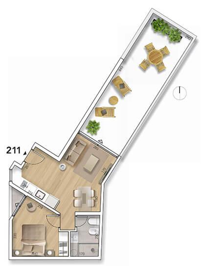 Lyra Plano 1 Dormitorio con patio 211