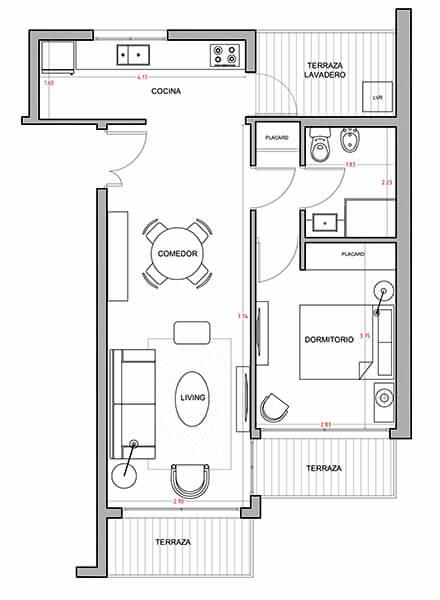 Alquimia - Plano 1 dormitorio 305