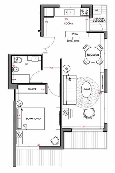 Alquimia - Plano 1 dormitorio 504