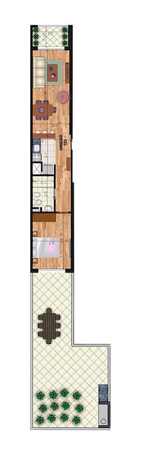 Marina 26 III Plano 1 dormitorio con patio 103
