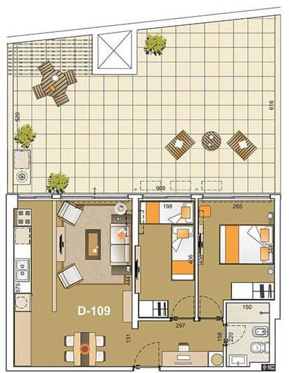 E-Tower Sky 2 dormitorios con patio