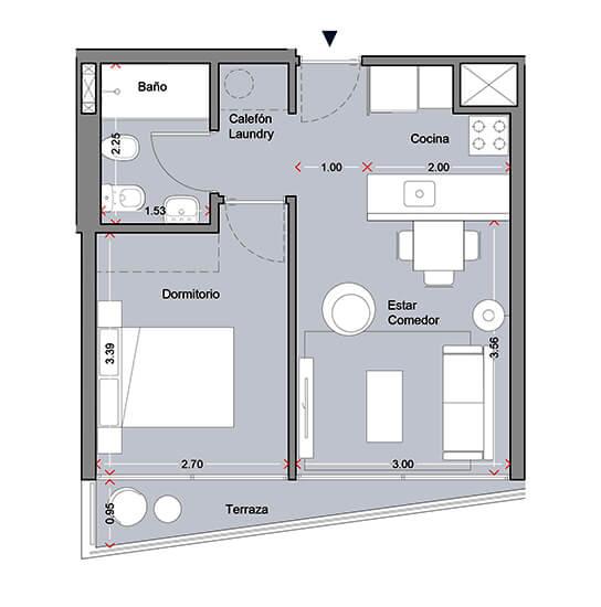 MASMIO Avenida plano 1 dormitorio la blanqueada