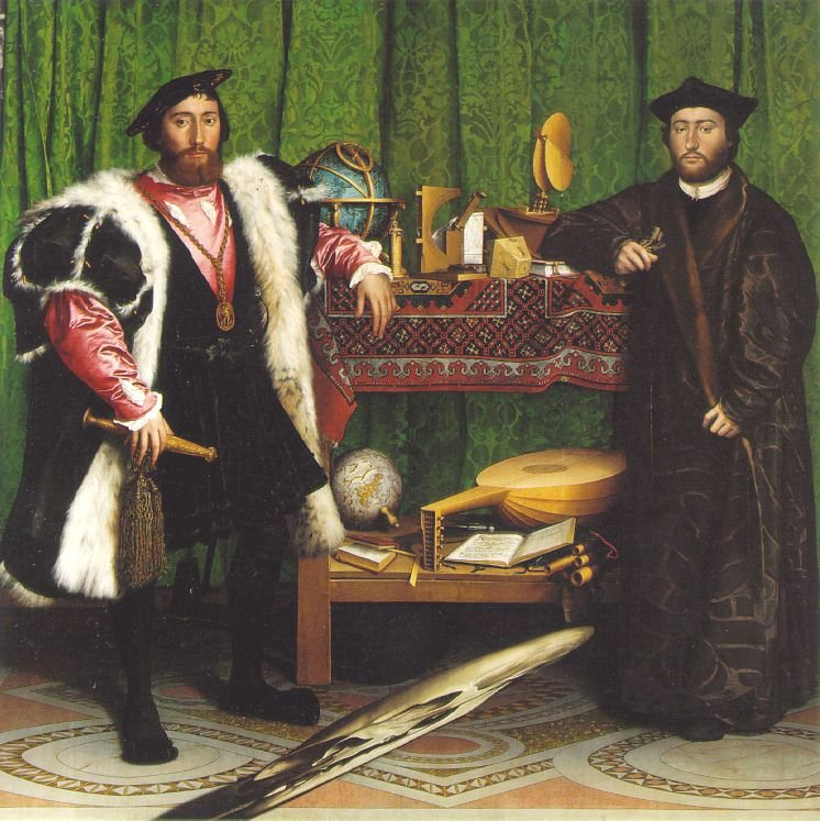 The Ambassadors 1533, Hans Holbein the Younger: Desenhos anamórficos