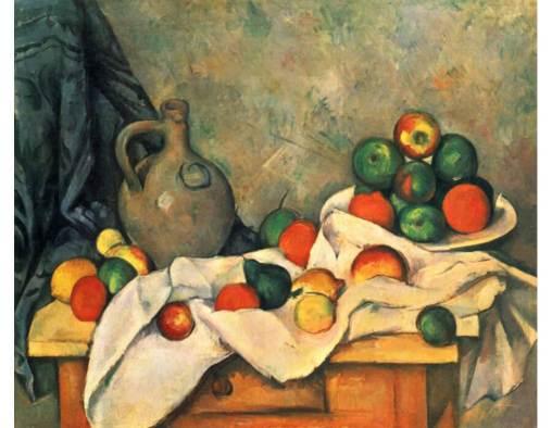 Paul Cézanne. Jarro, Cortina E Fruteira, 1893.