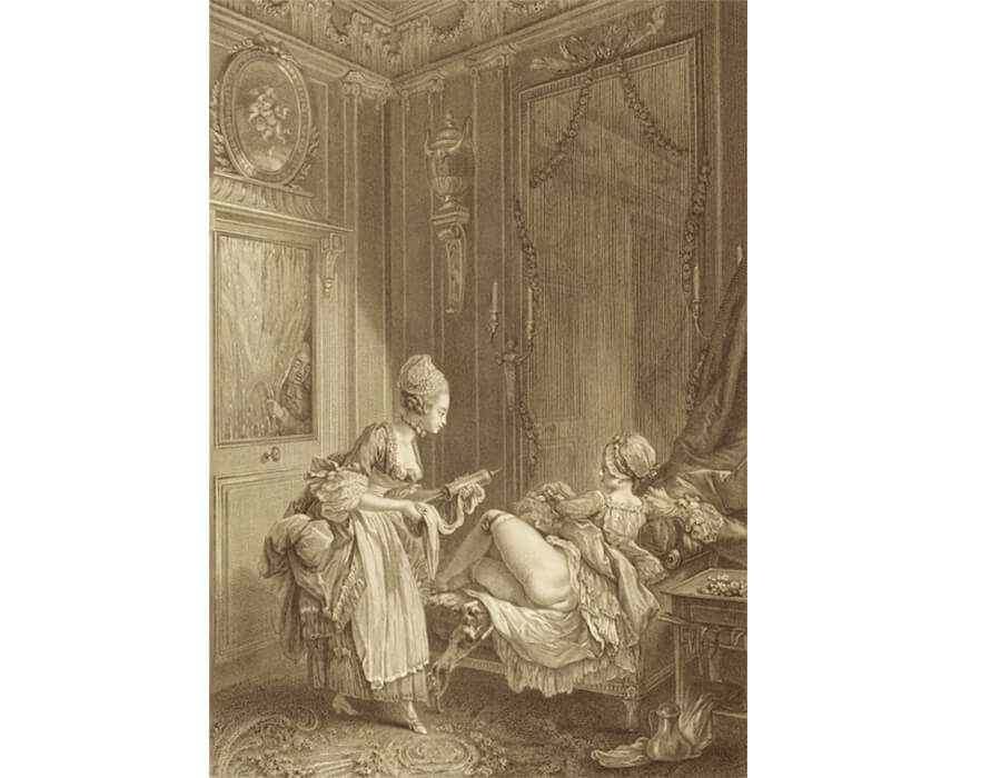 'A peeping-tom spying on a fashionable lady receiving an enema'—Pierre-Antoine Baudouin