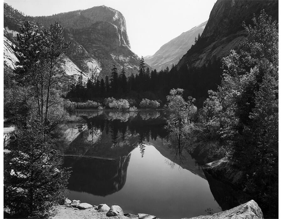 ansel adams; Mirror Lake, Morning, Yosemite National Park, 1928
