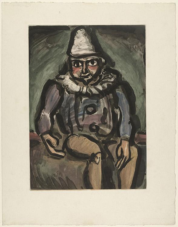 fauvismo principais artistas; Georges Rouault - O Velho Palhaço do Circo (1930)