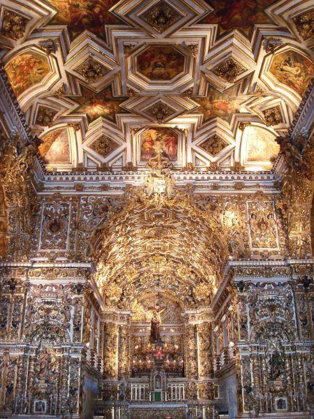 barroco; Interior da igreja de São Francisco. Salvador, Bahia
