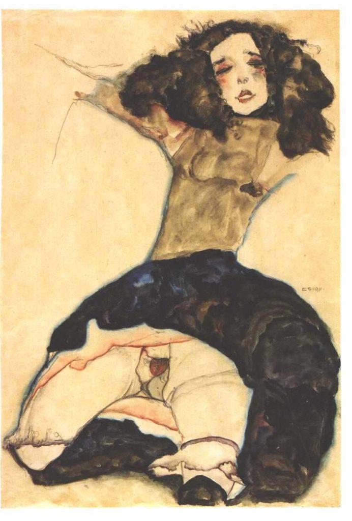 retratos de prostitutas. Schwarzhaariges Mädchen mit hochgeschlagenem Rock ,1911