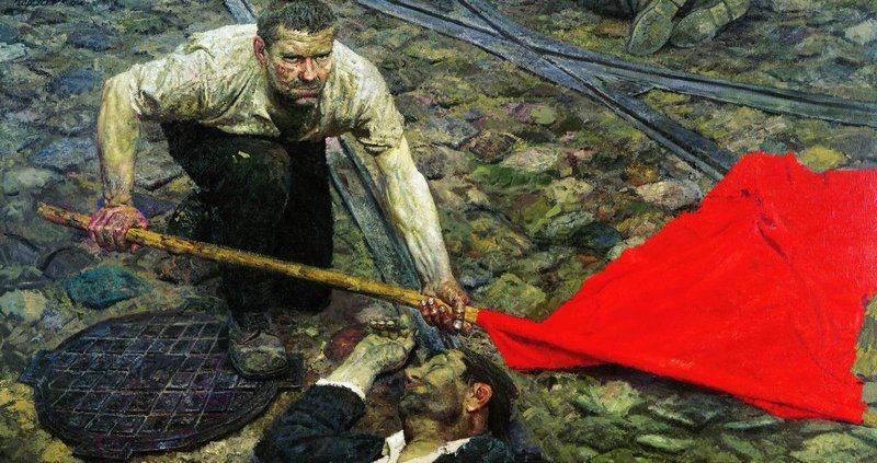 Gelly Mikhailovich. Raising the banner (1957)