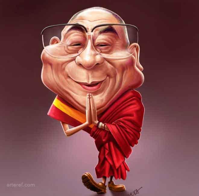 caricaturas de pessoas famosas; dalai-lama-caricature-by-mahesh