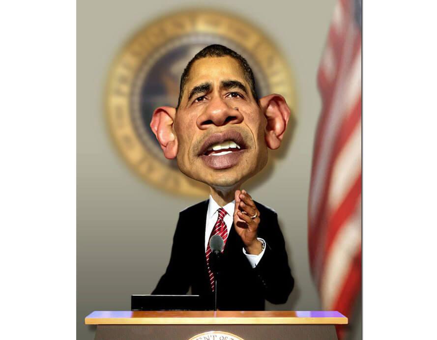 caricaturas de pessoas famosas; Barack-Obama