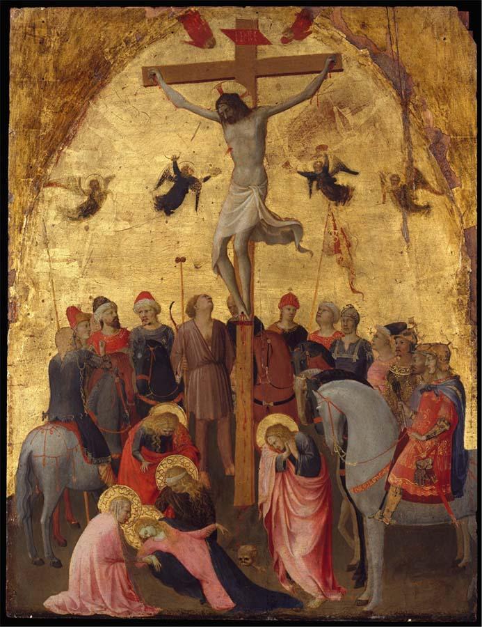reconquista cultural; Guido di Pietro conhecido por FRA ANGÉLICO (c. 1395-1455) A Crucificação, ca. 1420-23. Têmpera e ouro sobre madeira, 63,8x48,3. Metropolitan Musem of Art, Nova York, EUA copy