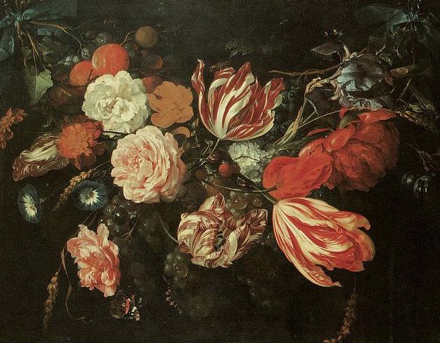 Festoon Of Flowers Greeting Card for Sale de Jan Davidsz de Heem