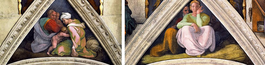 MICHELANGELO (1475-1564) DETALHE- As histórias dos Ancestrais de Cristo encontram-se ajustados nos triângulos acima das lunetas. Cappella Sistina, Palazzi Pontifici, Vatican, Itália