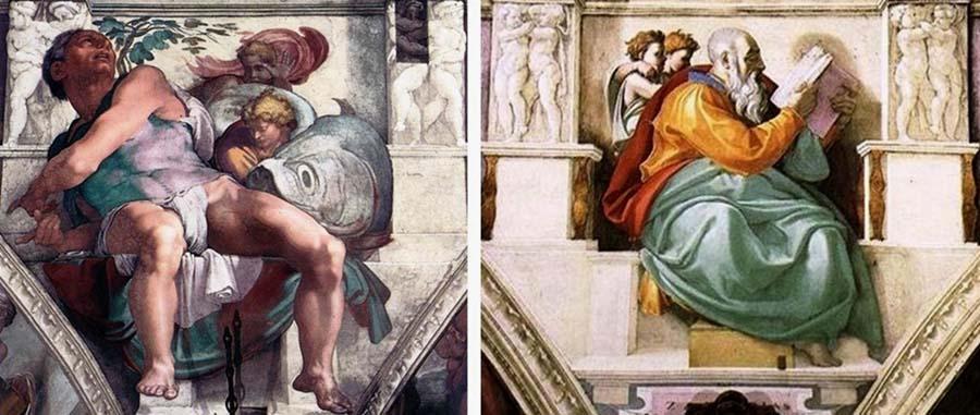 MICHELANGELO (1475-1564) DETALHE- O Profeta Jonas encontra-se na cabeceira da capela e o profeta Zacarias ao fundo