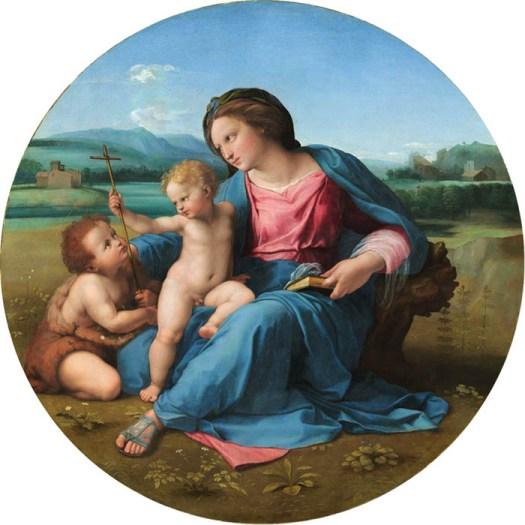 RAFAEL de Sanzio (1483-1520) Madona de Alba, ca. 1510. Óleo sobre painel transferido para tela, 94,5 de diâmetro. National Gallery of Art, Washington, EUA.