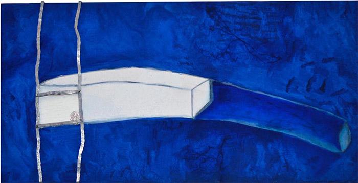 homenagem a yves klein à maneira de philip guston, 2002 Acrílica azul ultramar, branco e prata, óleo azul ultramar e branco, grafite, alumínio amassado, fio de ouro, parafusos, etc. (60 x 120 cm)