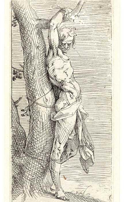 Maneirismo nos Países Baixos; Bartholomeus SPRANGER (1546-1611) O Martírio de São Sebastião, 1557-1564. Gravura, 20,6×9,1. (Gravura cortada na vertical, com o nome do artista) Hollstein Dutch 3. Rijksmuseum, Amsterdam, Holanda.