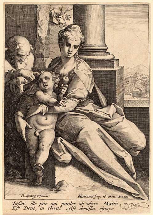 Hendrick GOLTZIUS (1558-1617) depois de Bartholomaeus SPRANGER (1546-1611) Sagrada Família, 1585. Gravura, 16.7x11.8. New Hollstein 1996, no. 337, State I/III. National Gallery of Art, Washington, EUA.