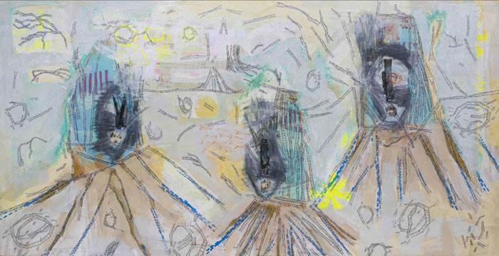 galeria aura; Sesper, sem título, 2016, acrílica, colagem, serigrafia e marcador sobre madeira, 117 x 221 cm