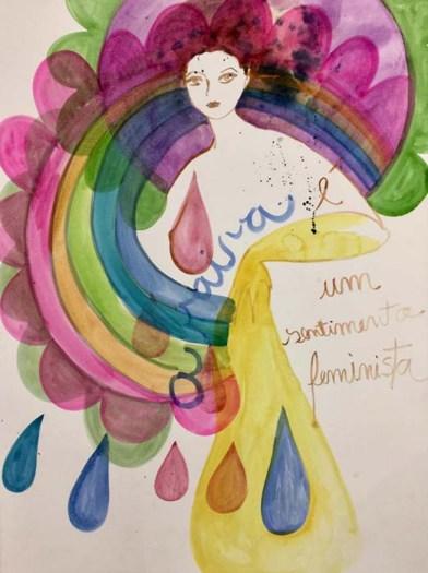 A raiva é um sentimento feminista aquarela sobre papel