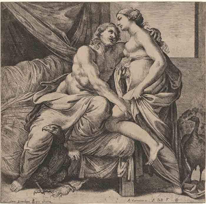Zeus;  Jacques BELLY (1609–1674) depois de Annibale CARRACCI5 (1560-1609) e Agostino CARRACCI (1557-1602) Júpiter abraçando Juno, do Palácio Farnese, 1641. Gravura, 22.5×15. The Metropolitan Musem of Art. Nova Iorque, EUA.