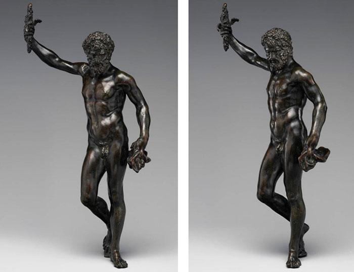 Zeus;  Pietro da BARGA (ativo entre 1574 e 1588) Cópia após modelo por Benvenuto CELLINI (1500-1571) Júpiter, ca. 1580.  Escultura em bronze, 29.5×14.3×8.3 cm. The Metropolitan Musem of Art. Nova Iorque, EUA.