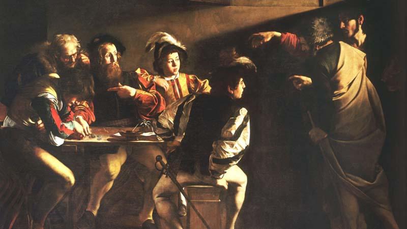 Michelangelo Merisi da CARAVAGGIO (1571-1610) Vocação de São Mateus, ca. 1599-1600. Óleo sobre tela,340 ×322.  Capella Contarelli6 ou Capella San Matteo, Chiesa di San Luigi dei Francesi7, Roma, Itália.