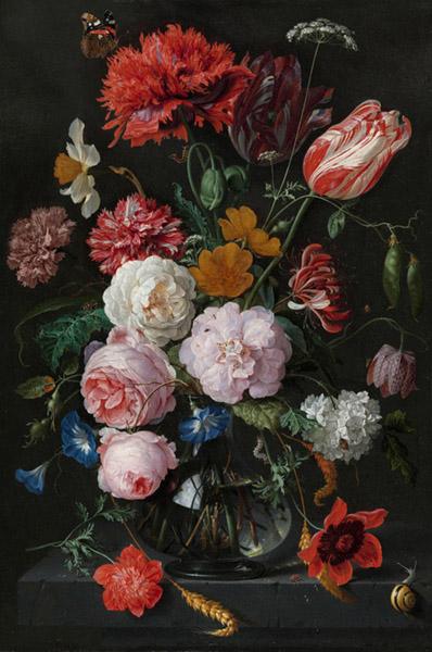 Jan Davidsz. DE HEEM (1606-1684) Natureza-morta com flores em um vaso de vidro, ca. 1650-1683. Óleo sobre metal, 54.5x36.5. Rijksmuseum, Amsterdam, Holanda.