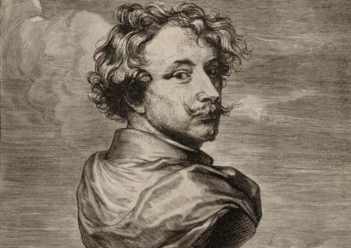 Antoon VAN DYCK (1599-1641) DETALHE: Autorretrato. Século XVII. Gravura.  The Cleveland Museum of Art, Cleveland, EUA.