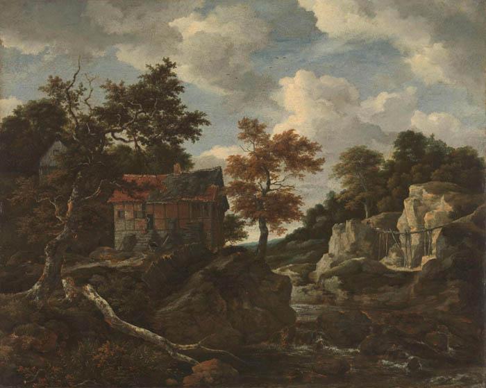 Jacob Isaackszvan RUISDAEL (ca. 1628/9-1682) Paisagem rochosa, 1650 – 1682. Óleo sobre tela,108.5x135. Rijksmuseum, Amsterdam, Holanda.