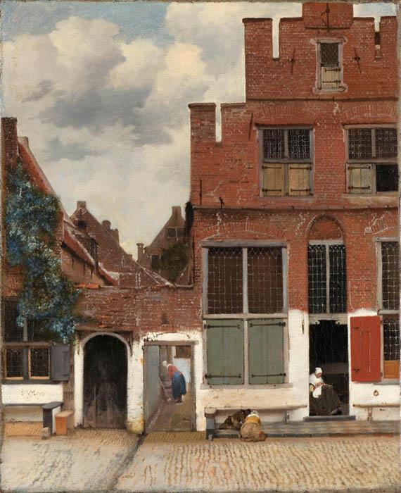 Johannes VERMEER (1632-1675) Vista das casas em Delft ou a Pequena rua de Delft, ca. 1658. Óleo sobre tela, 54.3x44. Rijksmuseum, Amsterdam, Holanda.