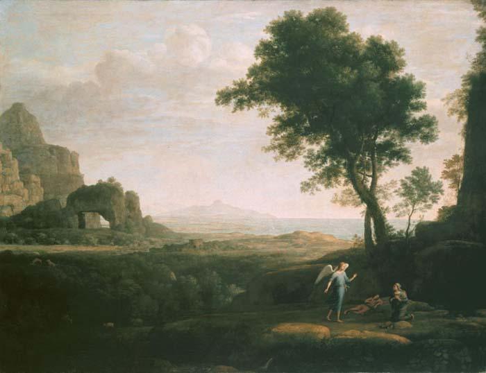 Claude LORRAIN (ca. 1600/5-1682) Hagar e Ismael no deserto3, 1668. Óleo sobre tela, 106,4x140. Alte Pinakothek, Munique, Alemanha.
