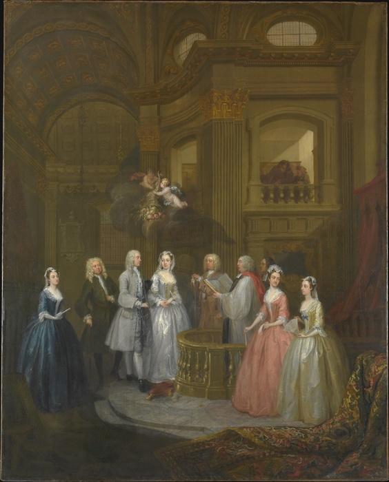 William HOGARTH (1697-1764).  O casamento de Stephen Beckingham e Mary Cox, 1729. Óleo sobre tela, 128.3x102.9. The Metropolitan Museum of Art, Nova York, EUA.