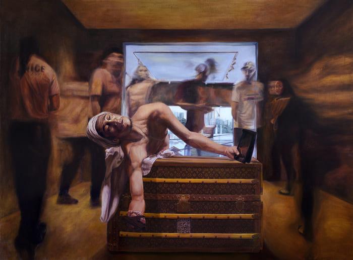 pintura realista; MARAT VELADO, Óleo sobre Tela, 110x 80 cm, 2019 , Carlos Borsa,  Coleção Particular - São Paulo, Brasil