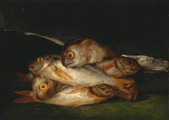 """Natureza Morta com Peixe Dourado"". Francisco Goya, 1808. Óleo sobre Tela, 44.8 x 62.5 cm. Museum of Fine Arts Houston; pintura figurativa"