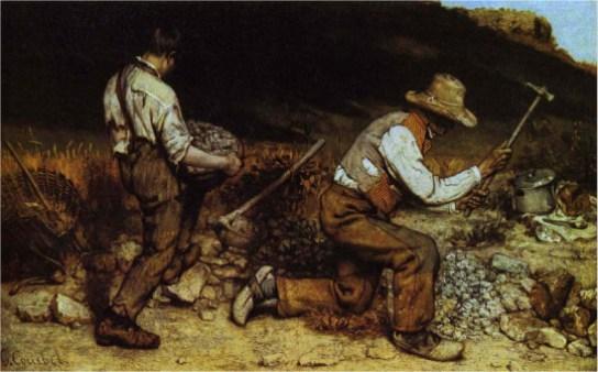 Gustave Courbet - Os Quebradores de Pedras (1849). Óleo sobre tela, 165 x 257 cm