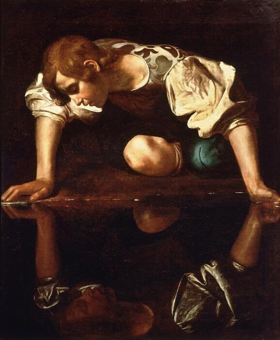 Narciso. Caravaggio, 1594 – 96.  Óleo sobre Tela, 110 x 92 cm. Galleria Nazionale d´Arte Antica.; pintura figurativa