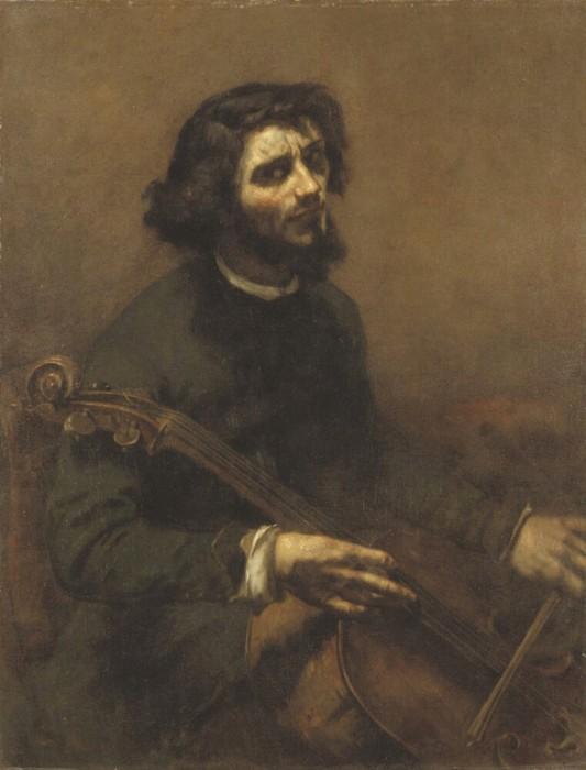 Jean Désiré Gustave COURBET (1819-1877) O Violoncelista, 1847. Óleo sobre tela, 117x89. Nationalmuseum, Estocolmo, Suécia.