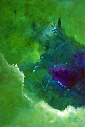 Tarcisio Costa. Constelação de Aquário 2020 - Acrílico sobre tela - 67 x 46 cm