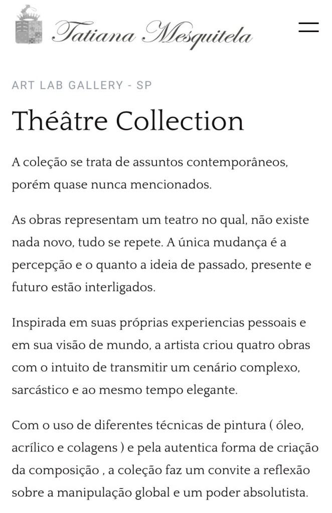 Tatiana Mesquitela: Théâtre Collection