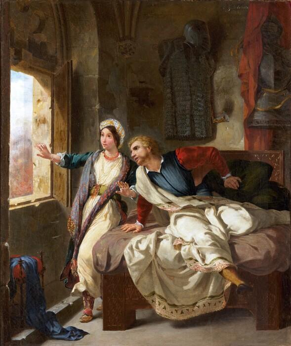 Neoclássica; Ferdinand Victor Eugène DELACROIX (1798-1863) Rebecca e o Ivanhoe Ferido, 1823. Óleo sobre tela, 64.5 × 53.7. Metropolitan Museum of Art, Nova York, EUA.