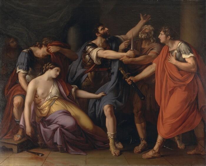 Gavin HAMILTON (1723-1798) A Morte de Lucretia ou O Juramento de Brutus, 1763-1767. Óleo sobre tela, 213.4x264.2. Yale Center for British Art. Paul Mellon Collection, New Haven, CT, EUA.